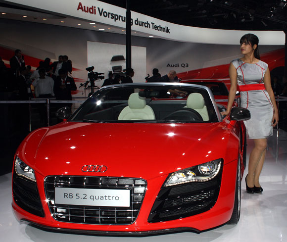 Bollywood star Katrina Kaif unveiling the Audi R8 5.2 Quattro.