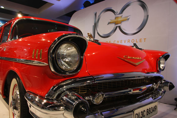 The Chevy Chrysler greets you at the entrance of the Chrvrolet Hall at the Auto Expo.