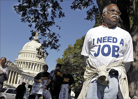 Mervin Sealy from Hickory, North Carolina, takes part in a protest rally outside the Capitol Building in Washington.
