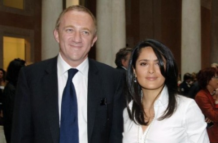 Francois-Henri Pinault, son of Francois Pinault, with his wife Salma Hayek.
