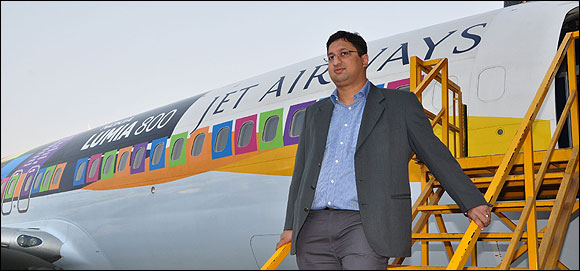 Prashanth Mani, GM-West, Nokia India at the unveiling of Lumia Jet planes.