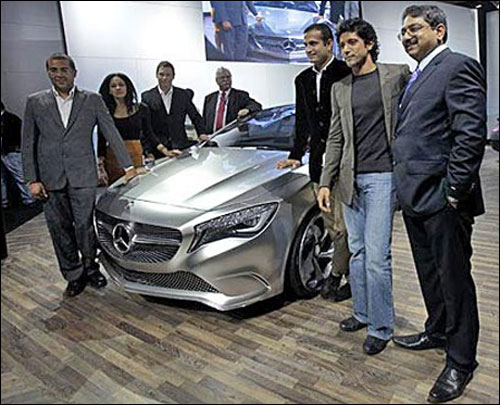 Bollywood celebrities at Auto Expo 2012