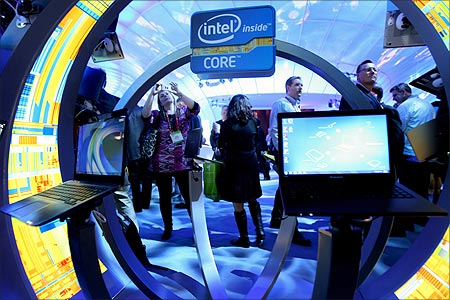 Ultrabooks at the Intel booth.