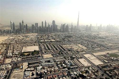 skyline of the Sheikh Zayed highway.