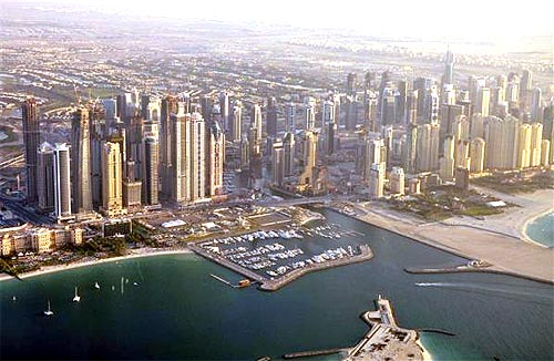 An aerial view of Dubai.