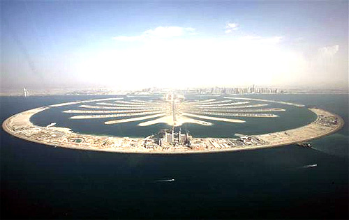 Palm tree-shaped islands in Dubai.
