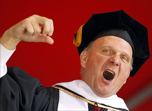 Microsoft Corporation CEO Steve Ballmer speaks at the University of Southern California's commencement ceremony in Los Angeles, California.