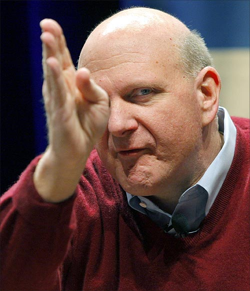 Microsoft CEO Steve Ballmer gestures during his keynote address at the Search Marketing Expo in Santa Clara, California.