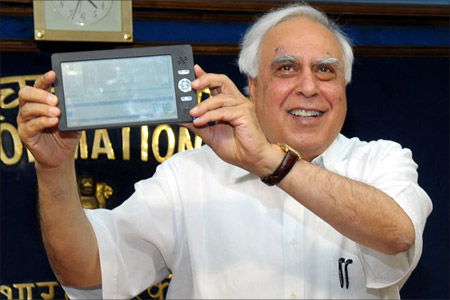 HRD Minister Kapil Sibal with the Aakash tablet.