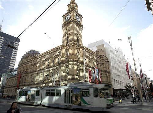 A tram passes in Central Melbourne.