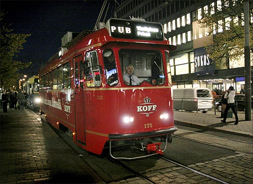 A tram which has been converted into a rolling pub.