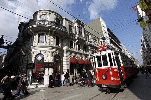 A tram is seen on Istiklal Caddesi.