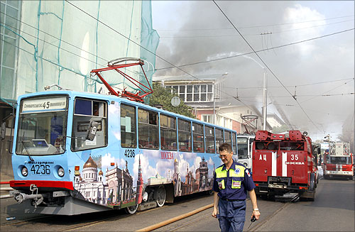 A tram painted in Moscow.