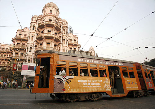 A tram runs in Kolkata.