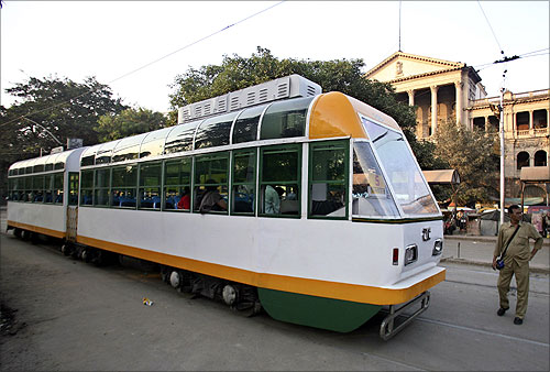 A tram in Kolkata.