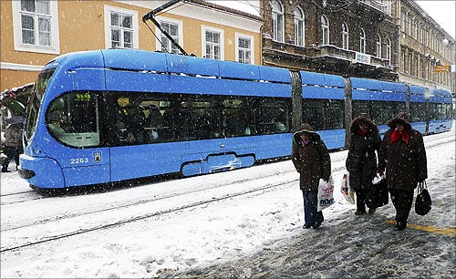 A tram in downtown Zagreb.