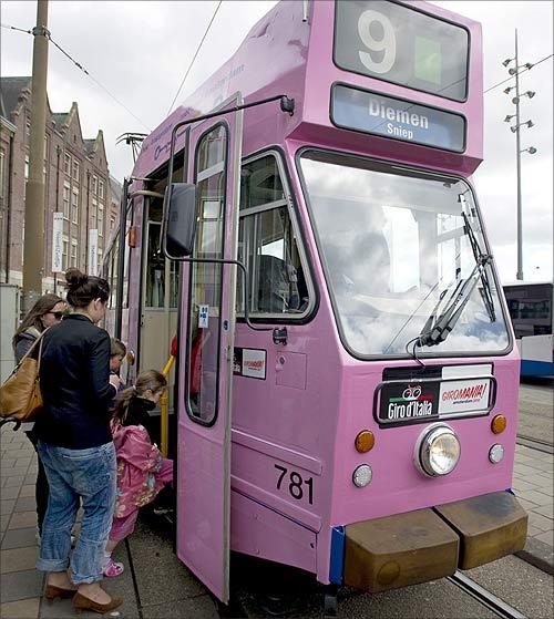 A tram in Amsterdam.