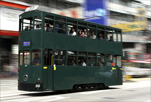 A tram in Hong Kong.