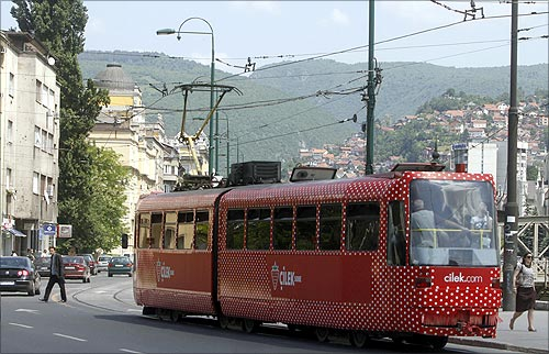 A tram  in Sarajevo.