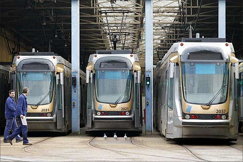 Trams parked at a depot in Brussels.