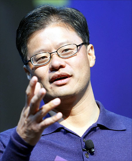 Jerry Yang speaks at a keynote address at the Consumer Electronics Show (CES) in Las Vegas.