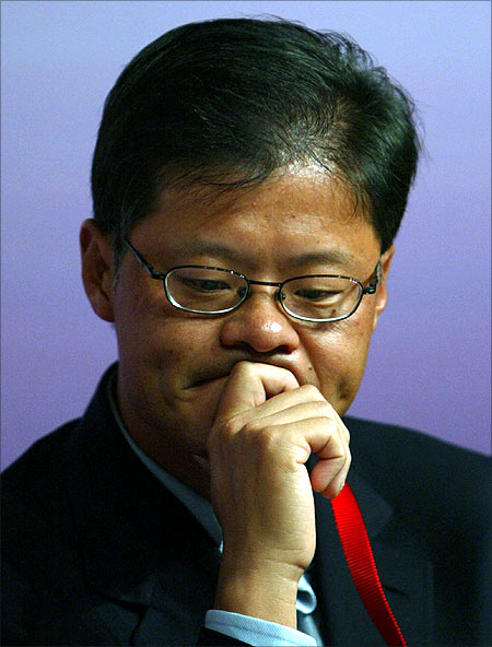 Yahoo founder Jerry Yang attends the Chinese Americans in the World Leadership Forum at Tsinghua University in Beijing.