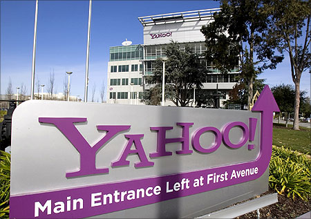 A Yahoo! signs infront of its headquarters in Sunnyvale, California.