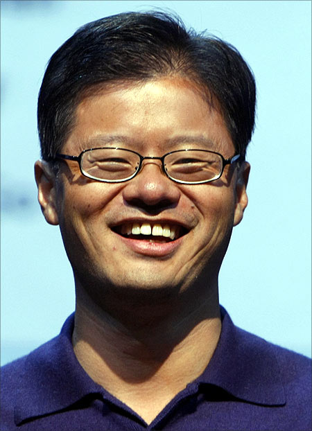 Jerry Yang speaks at a keynote address at the Consumer Electronics Show.