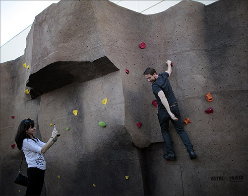 Rock climbing wall at the Google campus.