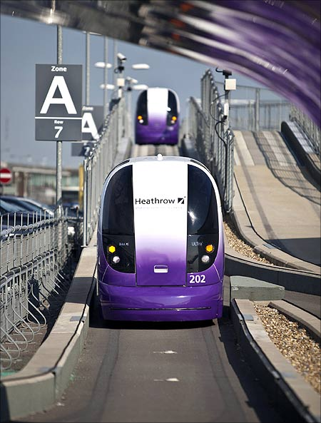 A Heathrow pod is seen in London.
