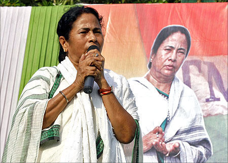 Banerjee addresses her supporters during an election campaign rally.