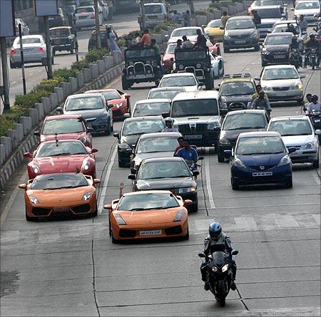 Super cars on Mumbai roads.