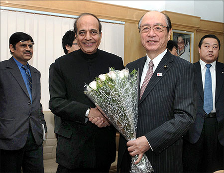 Minister of Land, Infrastructure, Transport and Tourism (MLIT), Japan, Takeshi Maeda meets Dinesh Trivedi.
