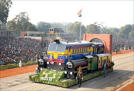 Tableau of Ministry of Railways passes through the Rajpath during the full dress rehearsal for the Republic Day Parade-2012.