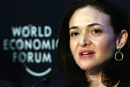 Facebook Chief Operating Officer Sheryl Sandberg speaks during a session at the World Economic Forum (WEF) in Davos.
