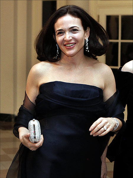 Sheryl Kara Sandberg, Chief Operating Officer of Facebook, arrives at a state dinner in honor of the state visit of South Korean President Lee Myung-bak, at the White House in Washington.