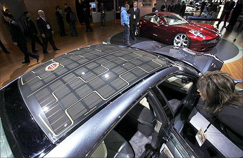 Fisker Karma hybrid electric car.