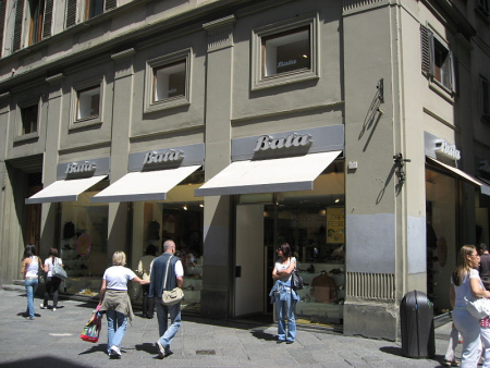Bata outlet in Florence, Italy.