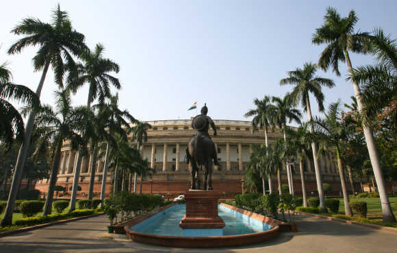A view of the Parliament building in New Delhi.