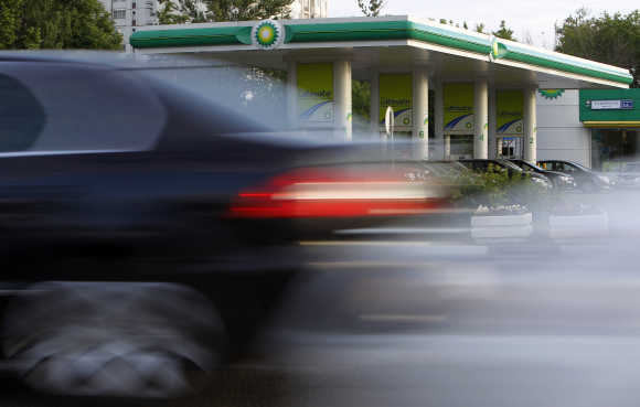 A car drives past a BP petrol station in Moscow.