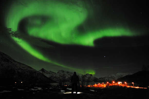 A view of the aurora borealis near the city of Tromsoe in Norway.