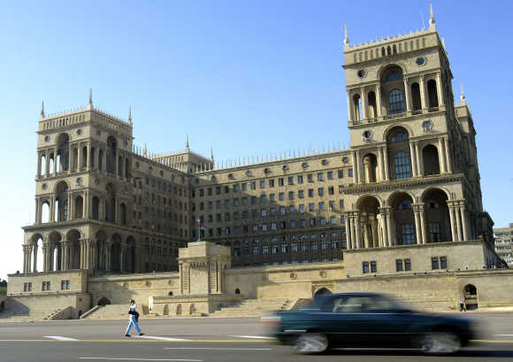 A view of a government building in central Baku, Azerbaijan.