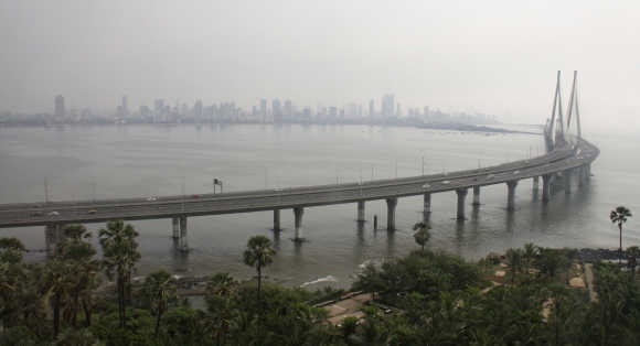 A view shows the Bandra-Worli sea link bridge, also called the Rajiv Gandhi Sethu, in Mumbai.