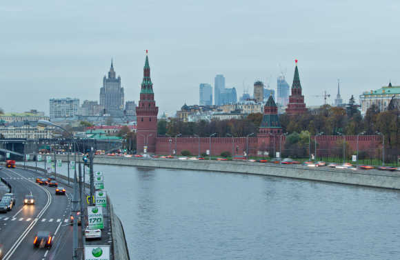 A view of Moscow's Kremlin, Ministry of Foreign Affairs and Moscow City business district.