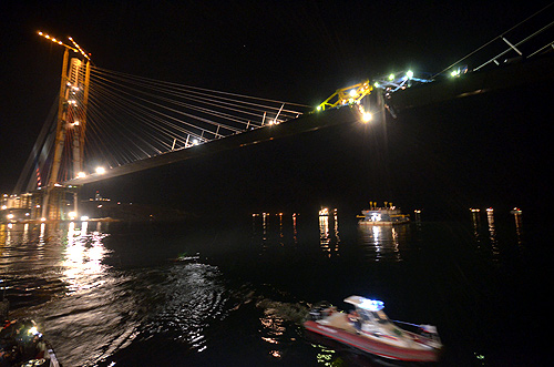 A view at night shows a bridge undergoing construction to link Russia's far eastern city of Vladivostok with Russky Island.