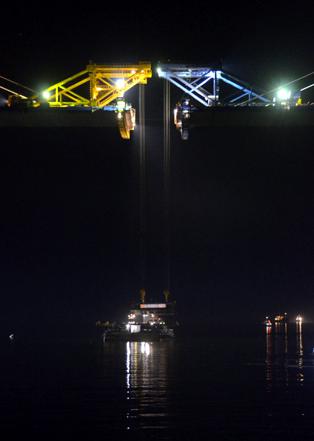 A view at night shows a bridge undergoing construction, to link Russia's far eastern city of Vladivostok with Russky Island.
