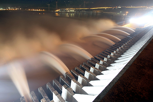 The Three Gorges Dam discharges water to lower the level in a reservoir in Yichang, Hubei province.