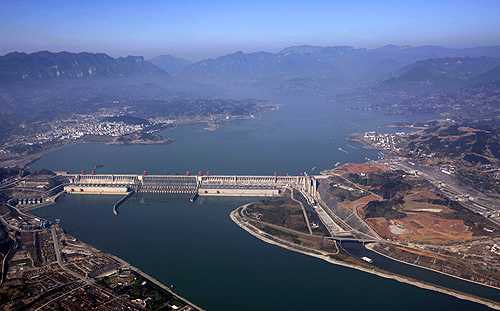 An aerial view shows the Three Gorges Dam on the Yangtze River in Yichang, Hubei province.