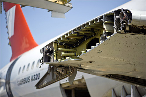 A dismantling Airbus plane is seen on the recycling yard of the Tarmac Aerosave company in Azereix near Tarbes, southern France.