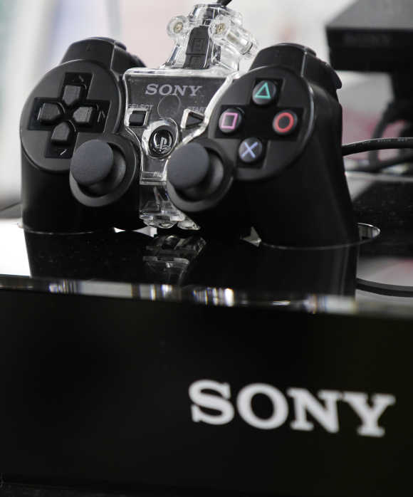 A Sony Playstation console is displayed at an electronics shop in Tokyo.